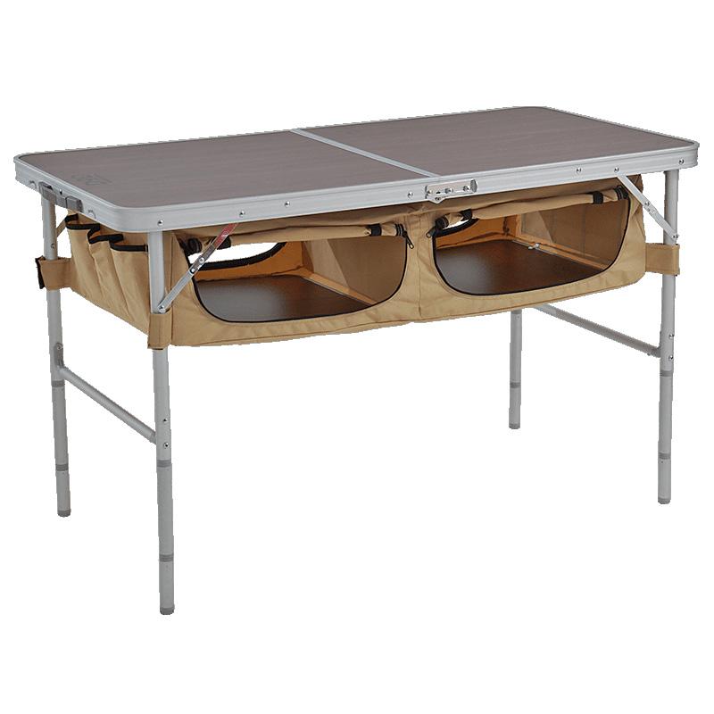 《キャンプ時のテーブル周りをスッキリおしゃれに。165Lの収納付き》DOPPELGANGER ストレージアウトドアテーブルTB5-110T