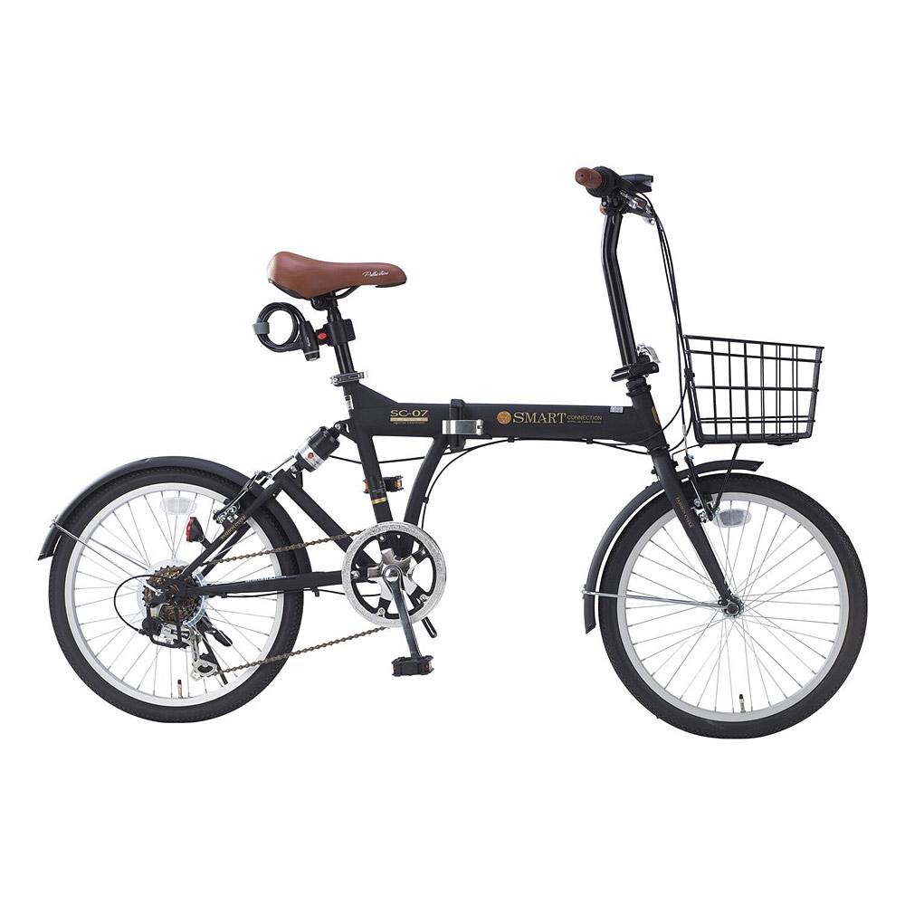 《肉厚チューブでパンクしにくい。シマノ製6段ギア搭載》My Pallas 20インチ 6段変速折りたたみ自転車 SC-07 PLUS(BK)ブラック