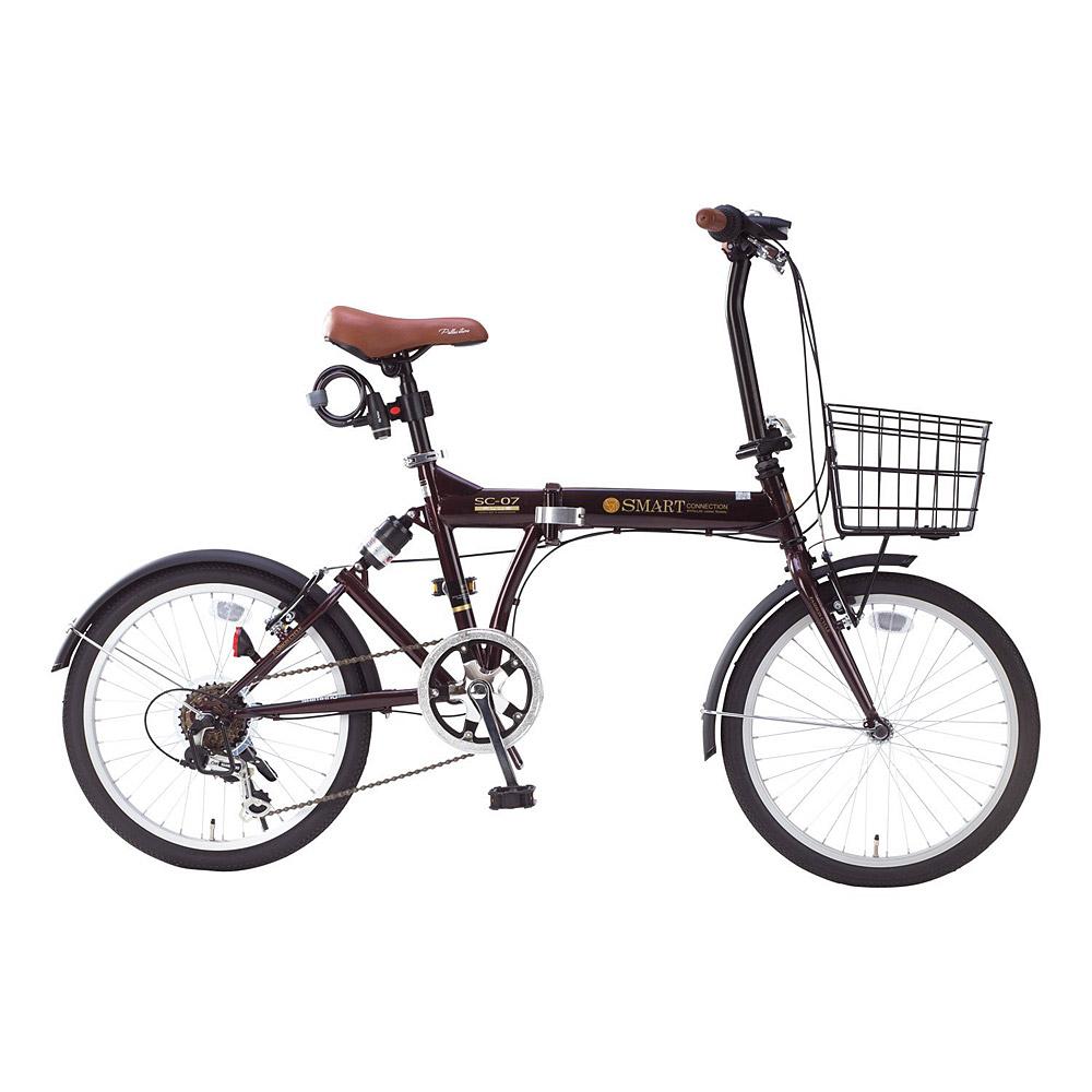 《肉厚チューブでパンクしにくい。シマノ製6段ギア搭載》My Pallas 20インチ 6段変速折りたたみ自転車 SC-07 PLUS(EB)エボニーブラウン