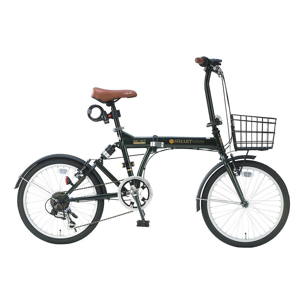 《肉厚チューブでパンクしにくい。シマノ製6段ギア搭載》My Pallas 20インチ 6段変速折りたたみ自転車 SC-07 PLUS(GR)グリーン