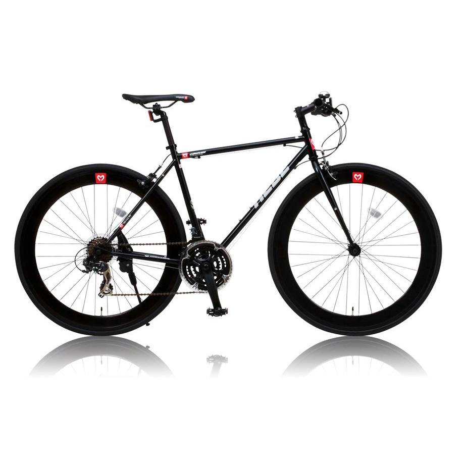 《クロムモリブデン鋼ロードフレーム採用》CANOVER 700x25C 21段変速クロスバイクCAC-024 HEBEフレームサイズ 490mm(25586)ブラック