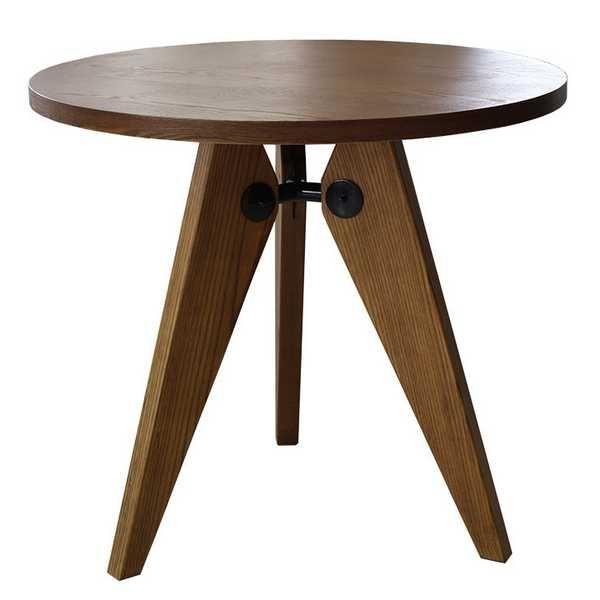 《三角形の脚が天板を支え、安定感のあるテーブル》ジャン・プルーヴェダイニングテーブル ゲリドン RT-703-BRブラウン