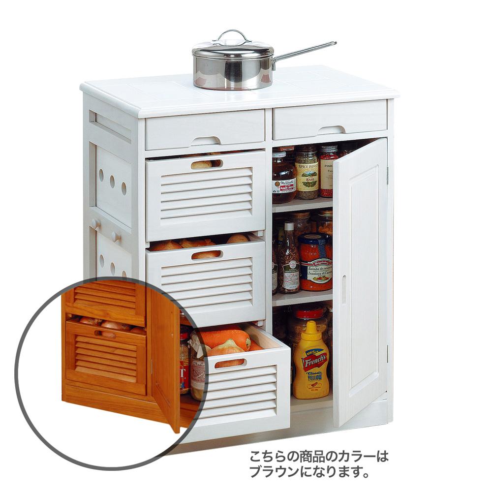 《野菜や瓶缶、キッチン小物をまとめて収納。キッチンまわりがスッキリ》ファミリー・ライフ 天然木桐材キッチンワゴン57cm幅(0254310)ブラウン