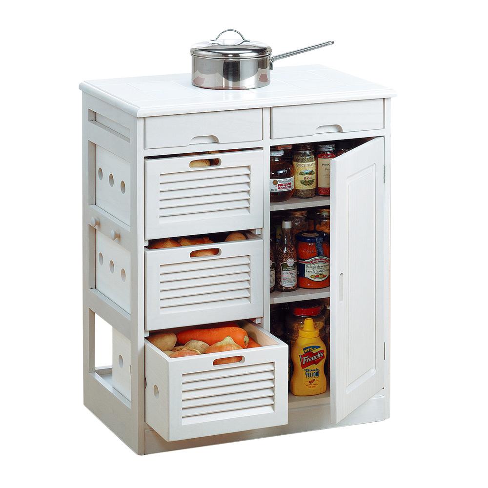 《野菜や瓶缶、キッチン小物をまとめて収納。キッチンまわりがスッキリ》ファミリー・ライフ 天然木桐材キッチンワゴン57cm幅(0254320)ホワイト