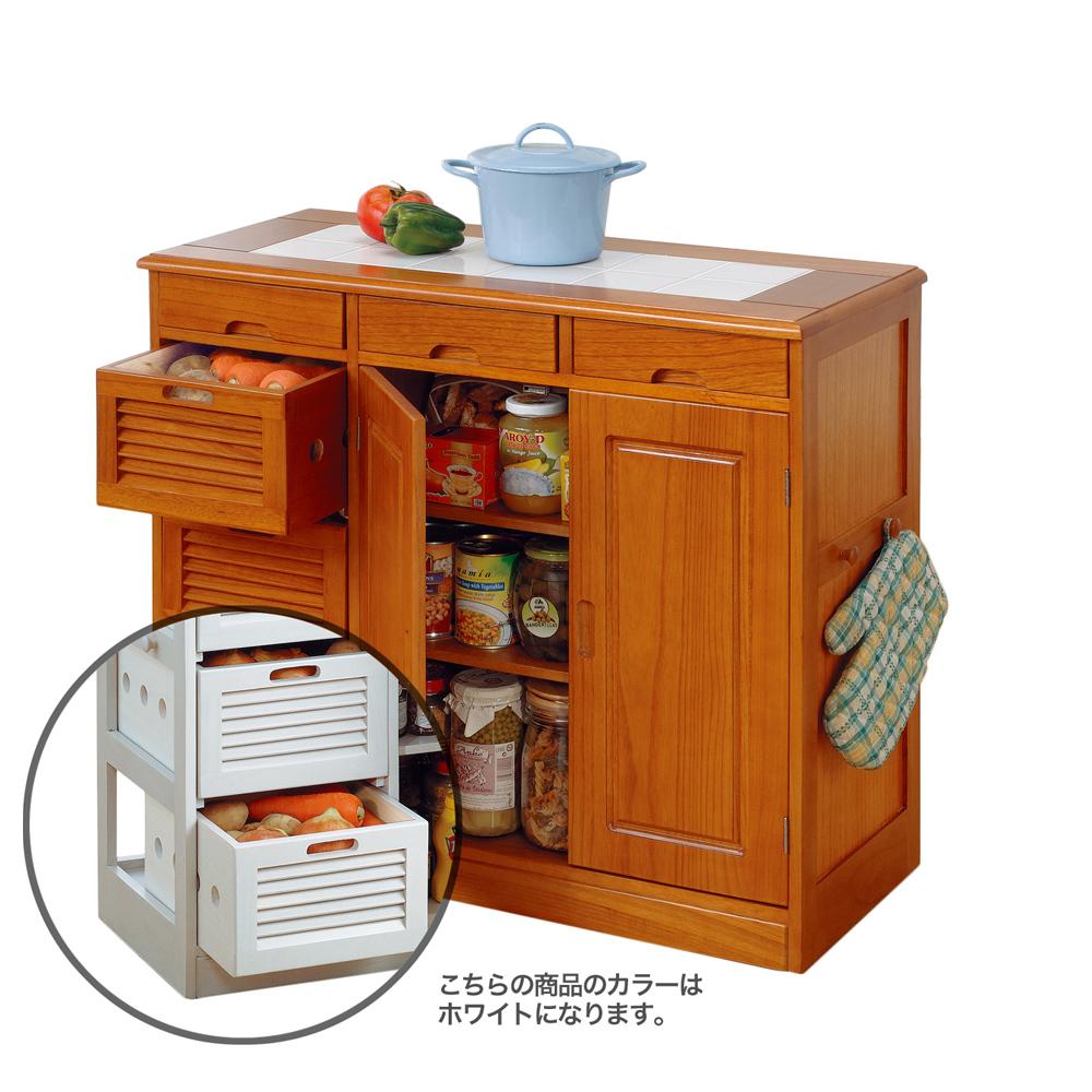 《野菜や瓶缶、キッチン小物をまとめて収納。キッチンまわりがスッキリ》ファミリー・ライフ 天然木桐材キッチンワゴン82cm幅(0254420)ホワイト