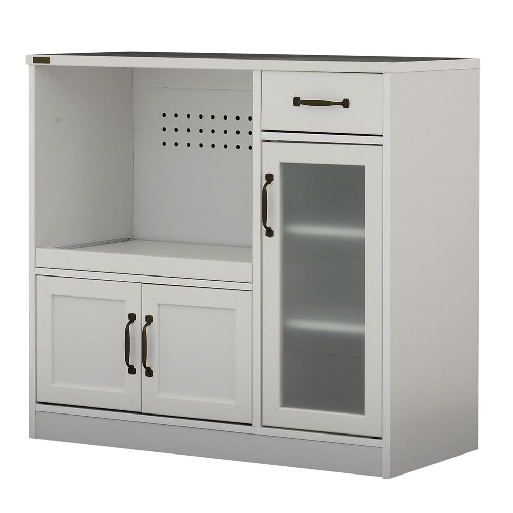 《キッチンまわりの家電品をスッキリ収納。2口コンセント付》ARDI レンジボード(ロータイプ 90cm幅)AR80-90L WHホワイト