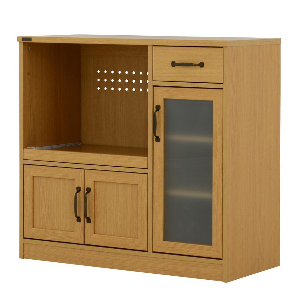 《キッチンまわりの家電品をスッキリ収納。2口コンセント付》ARDI レンジボード(ロータイプ 90cm幅)AR80-90L NAナチュラル