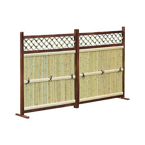 《美しい天然竹を焼杉の枠で縁取った本格タイプ》ファミリー・ライフ 天然竹垣2連横型(0255110)