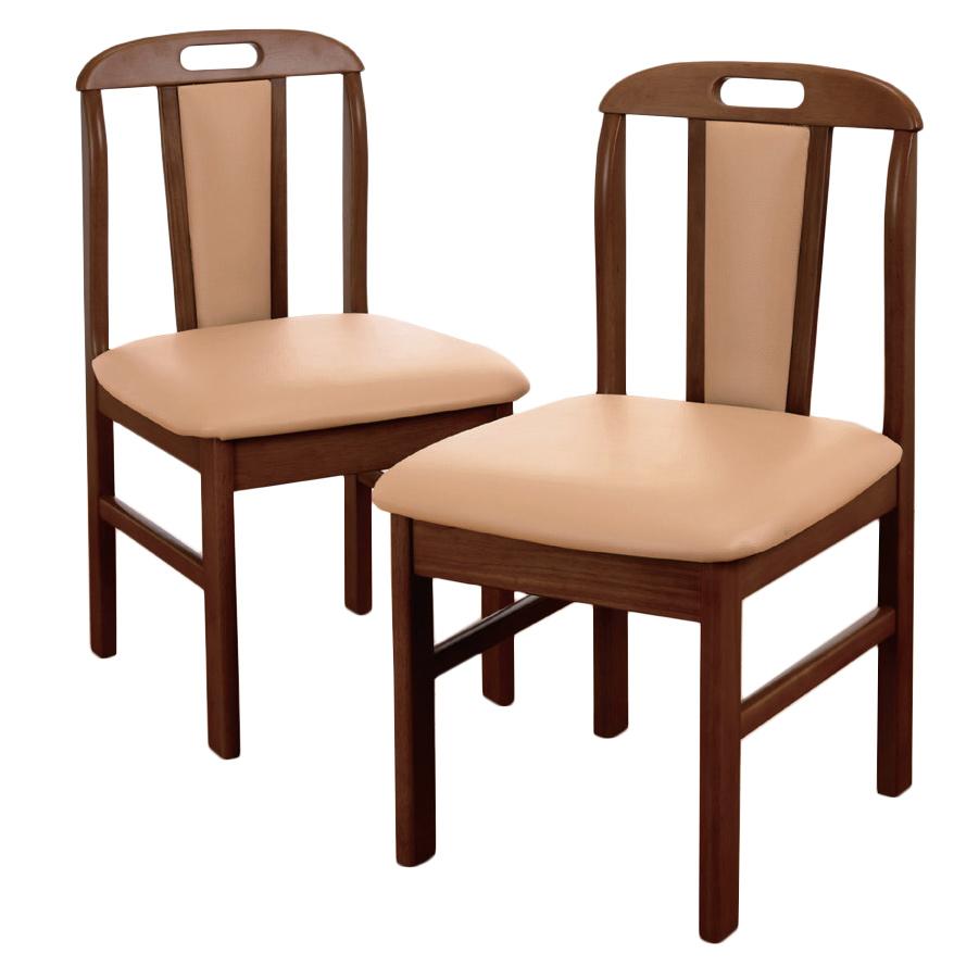 《座面と背面はウレタンフォーム入りで快適な座り心地》ファミリー・ライフ 天然木ダイニングチェア2脚組(03296)