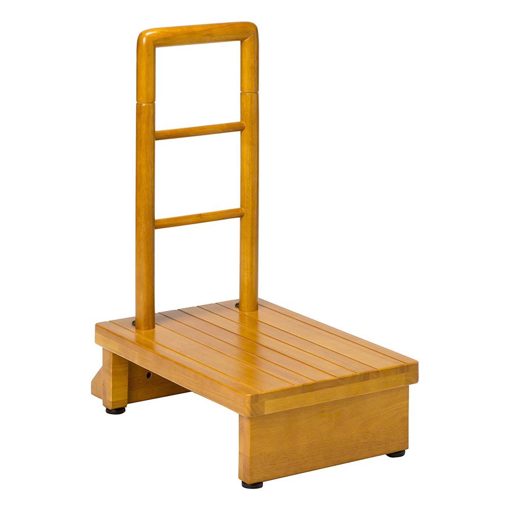 《辛い段差の昇り降りの負担を緩和》ファミリー・ライフ 天然木手すり付き玄関踏み台(66836)70cm幅ナチュラルブラウン