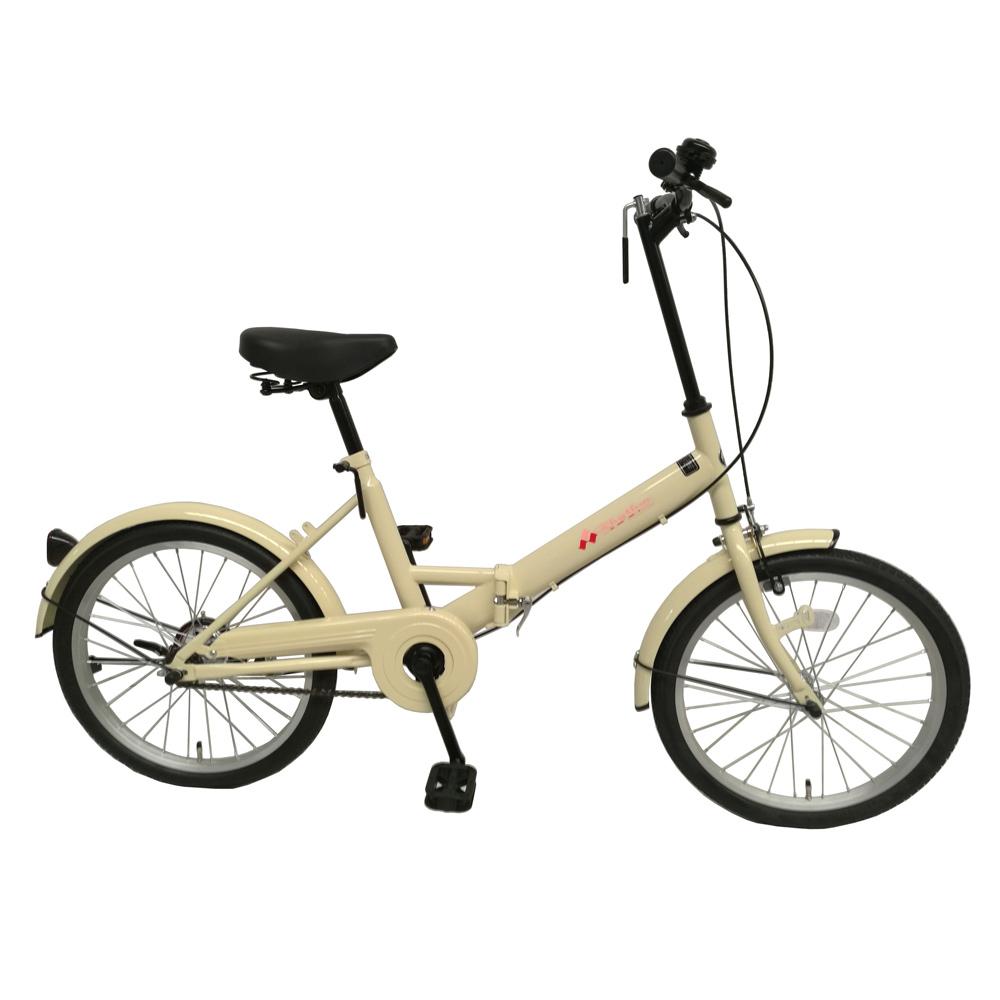 《チョッとそこまでに活躍してくれるシンプルビークル》美和商事 リズム20インチ折りたたみ自転車RH200BKND-IV6(アイボリー)