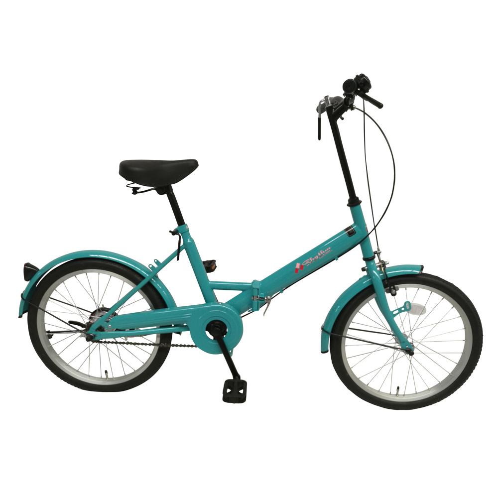 《チョッとそこまでに活躍してくれるシンプルビークル》美和商事 リズム20インチ折りたたみ自転車RH200BKND-FZG(ファジーグリーン)