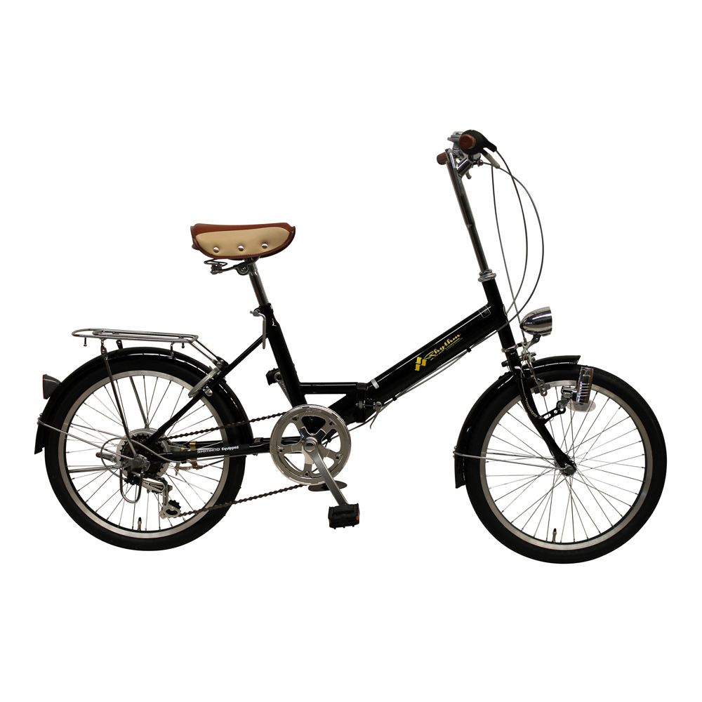 《チョッとそこまでに活躍してくれる6段変速・鍵・ライト付き》美和商事 リズム20インチ6段変速折りたたみ自転車RH206CPBD-BK7(ブラック)