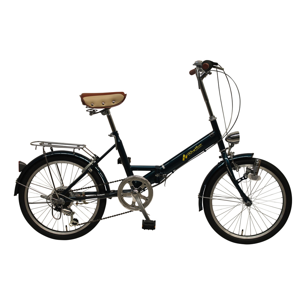 《チョッとそこまでに活躍してくれる6段変速・鍵・ライト付き》美和商事 リズム20インチ6段変速折りたたみ自転車RH206CPBD-NGB(ブルーグリーン)
