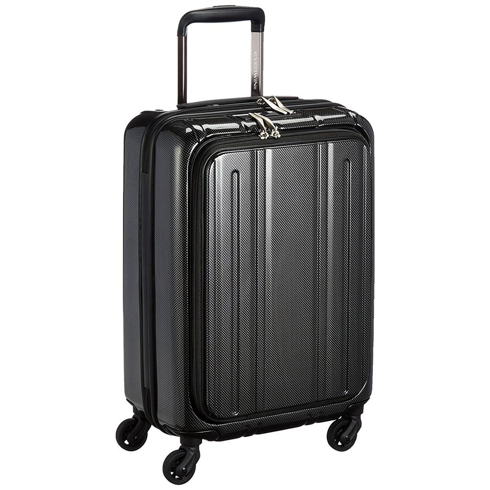 《50mmの大型グリスパックキャスターを採用》EVERWIN 機内持込可スーツケースEVERWIN Front Open 30L(EW31240)ブラックカーボン