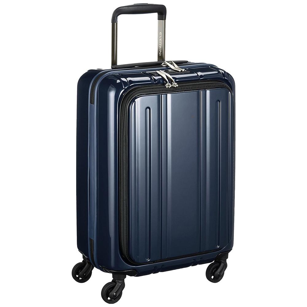 《50mmの大型グリスパックキャスターを採用》EVERWIN 機内持込可スーツケースEVERWIN Front Open 30L(EW31240)パールダークブルー