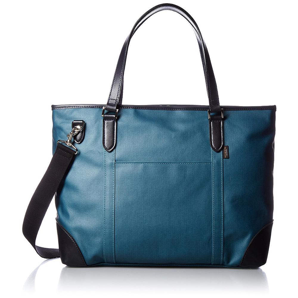 《ベーシックなビジネストートバッグ。丁寧に作り込まれています》EVERWIN 2WAYトートバッグキャンバス地撥水加工(21587)ブルー