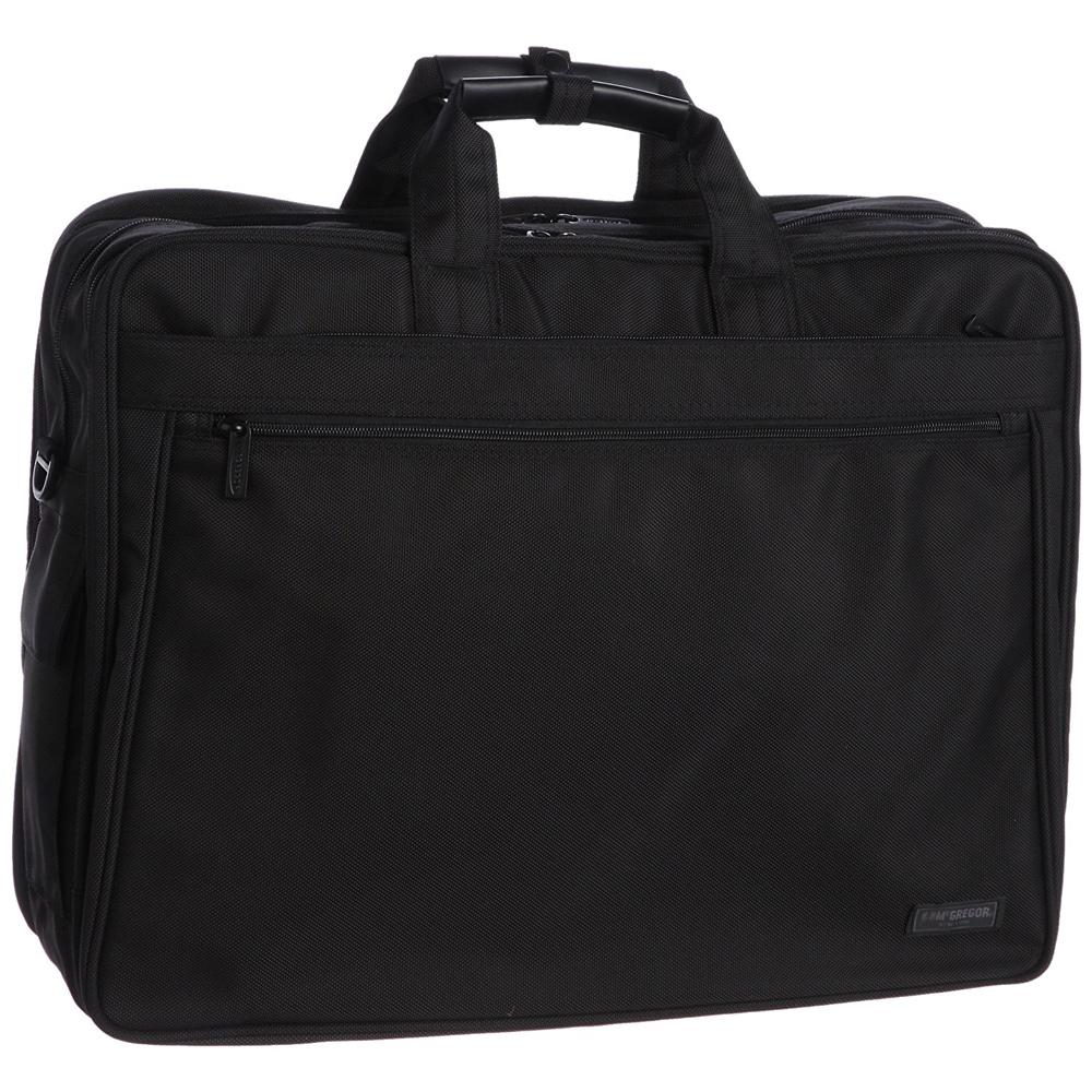《スーツ、衣類、PC、書類まとめて運べる》McGREGOR 大容量ガーメントバッグ(21944)ブラック