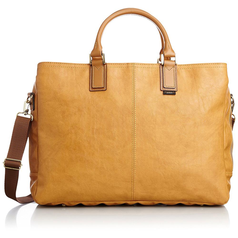 《B4書類対応、開口部が大きく出し入れしやすい》EVERWIN 2WAYビジネスバッグ(21597)キャメル