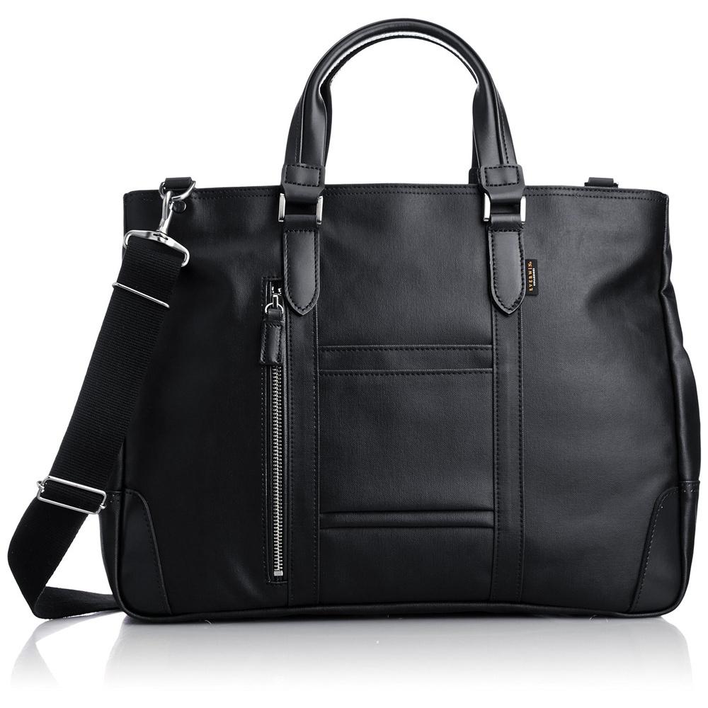 《B4書類対応、自立式ビジネストートバッグ》EVERWIN 2WAYビジネスバッグ撥水加工(21598)ブラック