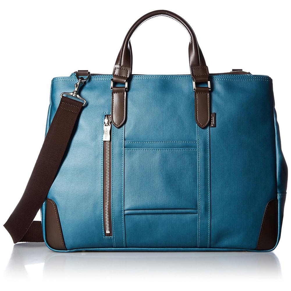 《B4書類対応、自立式ビジネストートバッグ》EVERWIN 2WAYビジネスバッグ撥水加工(21598)ブルー