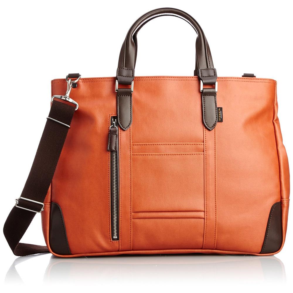《B4書類対応、自立式ビジネストートバッグ》EVERWIN 2WAYビジネスバッグ撥水加工(21598)オレンジ