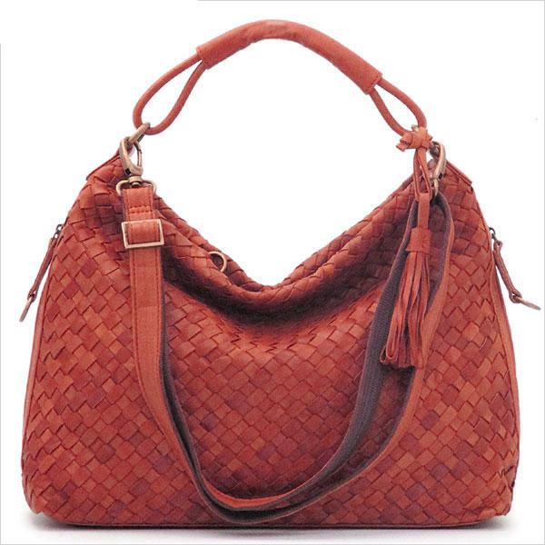 《ショルダー・ハンドバッグの2WAY仕様。A4サイズ対応》LILY メッサーラ ポニーレザーメッシュ2WAYバッグ(L)WE0203-30レッド