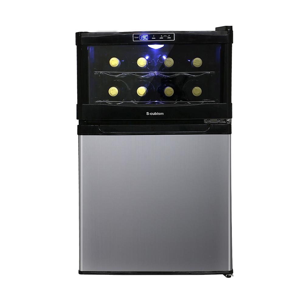 《ワインと食材が一緒に収納できる冷蔵庫一体型》エスキュービズム 45L1ドア冷蔵庫プラスワインクーラー8本分冷蔵庫一体型 ワインクーラー SCW-208S