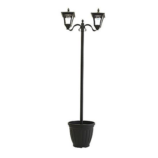 《ソーラー充電で暗くなれば自動に点灯。持ち運びも移動も簡単》ファミリー・ライフ ソーラーガーデン灯184cm高(A14870)2灯タイプ