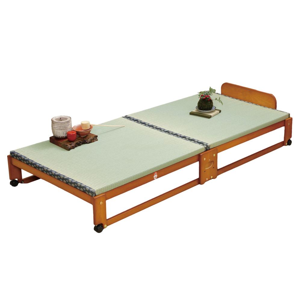 《軽い力で簡単に折りたためる、天然木ベッド》ファミリー・ライフ 中居木工製折りたたみ式畳ベット(61136)シングル