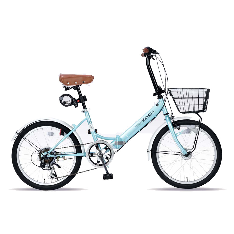 《バスケット・LEDオートライト・ワイヤーロック付属のオールインワンタイプ》My Pallas 20インチ 6段変速折りたたみ自転車M-204MERRY-MT