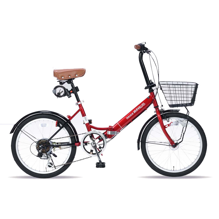 《バスケット・LEDオートライト・ワイヤーロック付属のオールインワンタイプ》My Pallas 20インチ 6段変速折りたたみ自転車M-204MERRY-RD