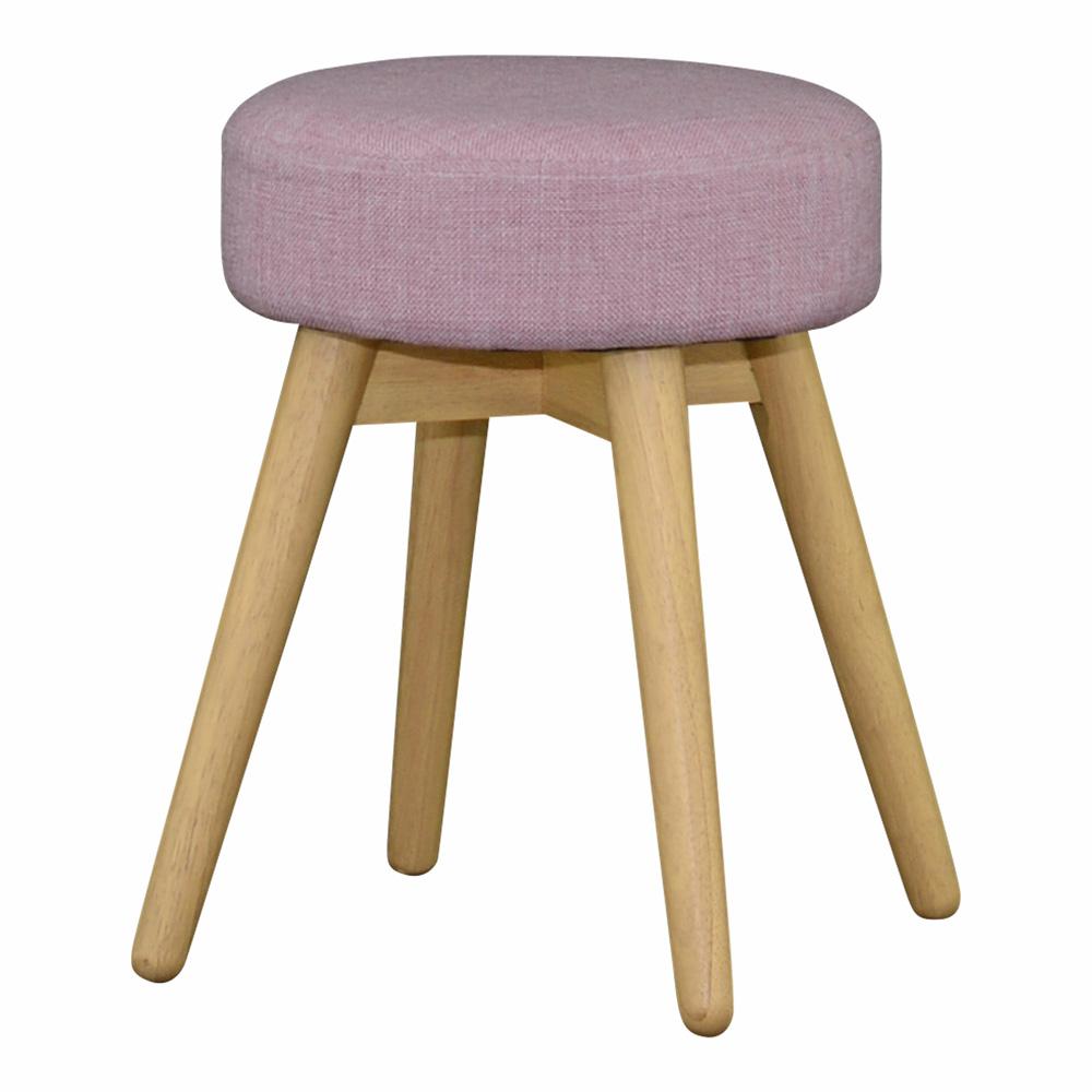 《円形の座面と、丸みを帯びたデザインがコロンとして可愛い》COTIE 丸形スツールCOT43-32DPK NA(ナチュラル/ピンク)