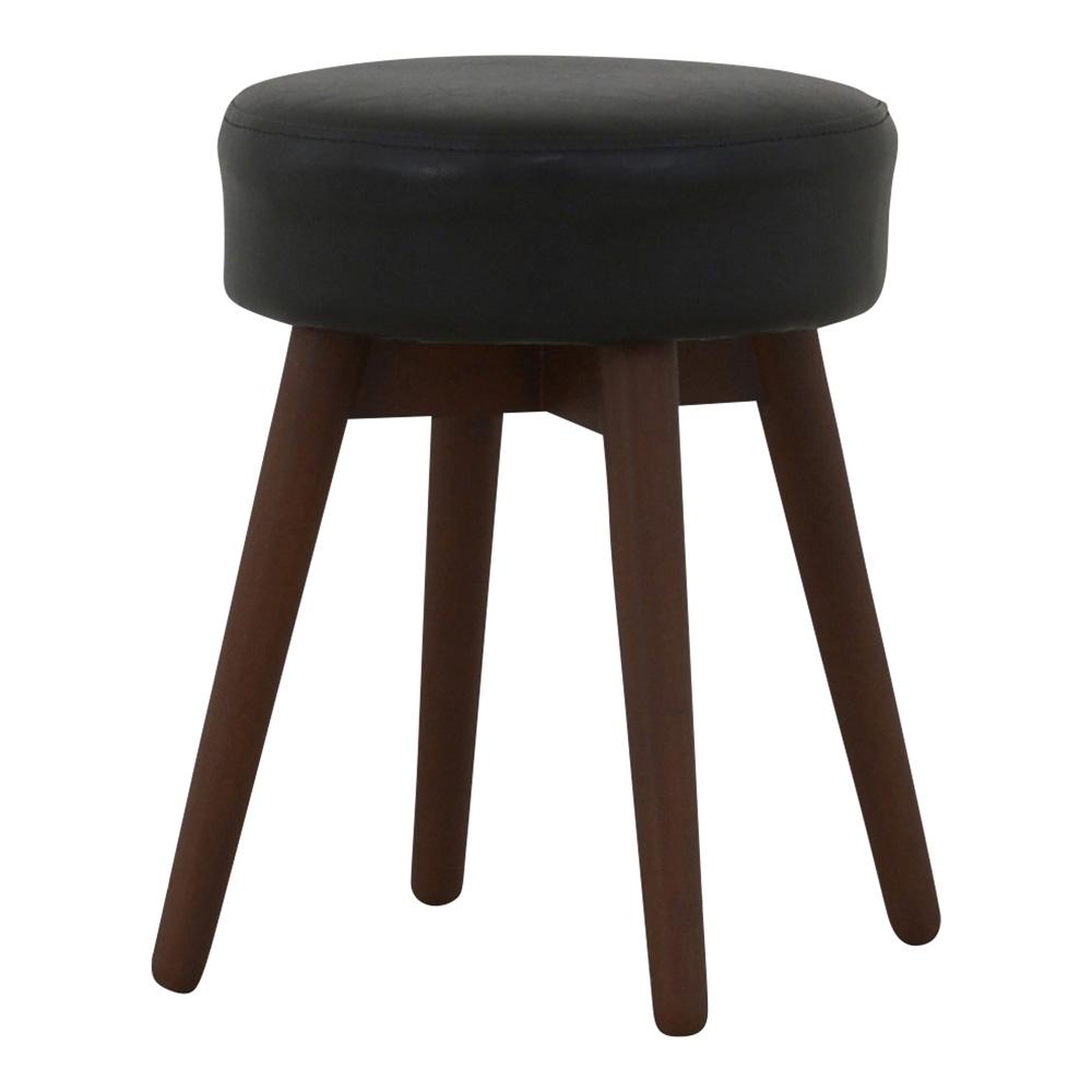 《円形の座面と、丸みを帯びたデザインがコロンとして可愛い》COTIE 丸形スツールCOT43-32BK BR(ブラウン/ブラック)