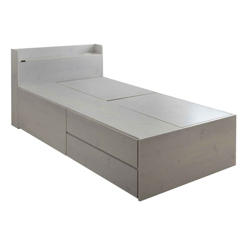 《大きな深型引出しと、上下2段の引出しが付いた2分割収納ベッド》VAJI 収納付きシングルベッドVAJI100S-WH(ハイタイプ・収納付)ホワイト
