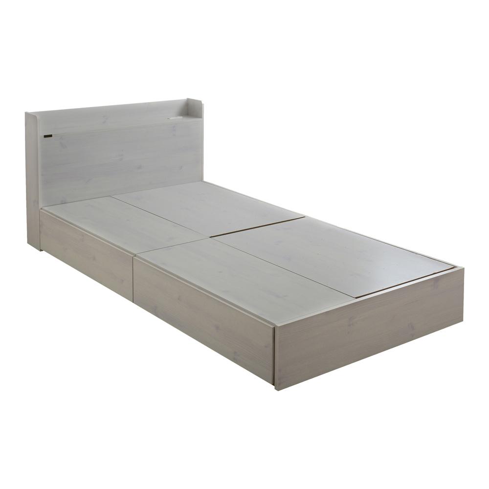 《大きな引出しが2つ付いた、ロータイプの2分割収納ベッド》EMICA 収納付きシングルベッドEMICA100S-WH(ロータイプ・収納付)ホワイト