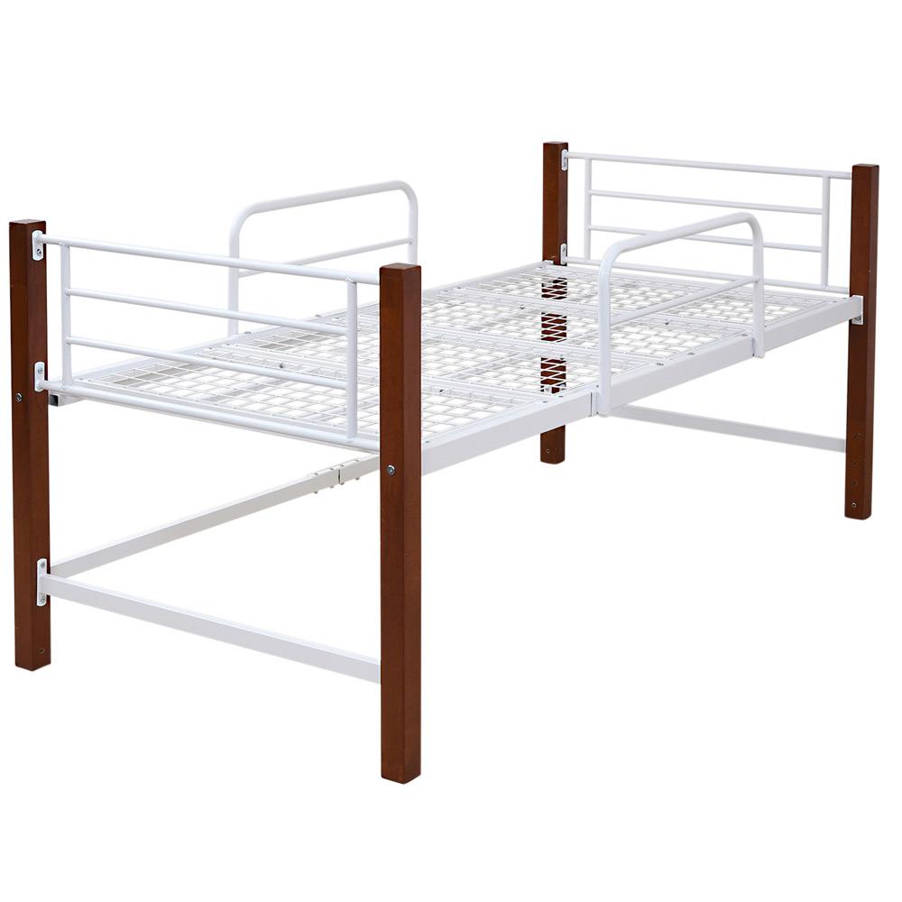 《ベッド下に収納ボックスをたっぷり置ける》JKプラン 天然木脚ミドルハイトシングルベッド高さ96cmIRI-1041-WHBRホワイト
