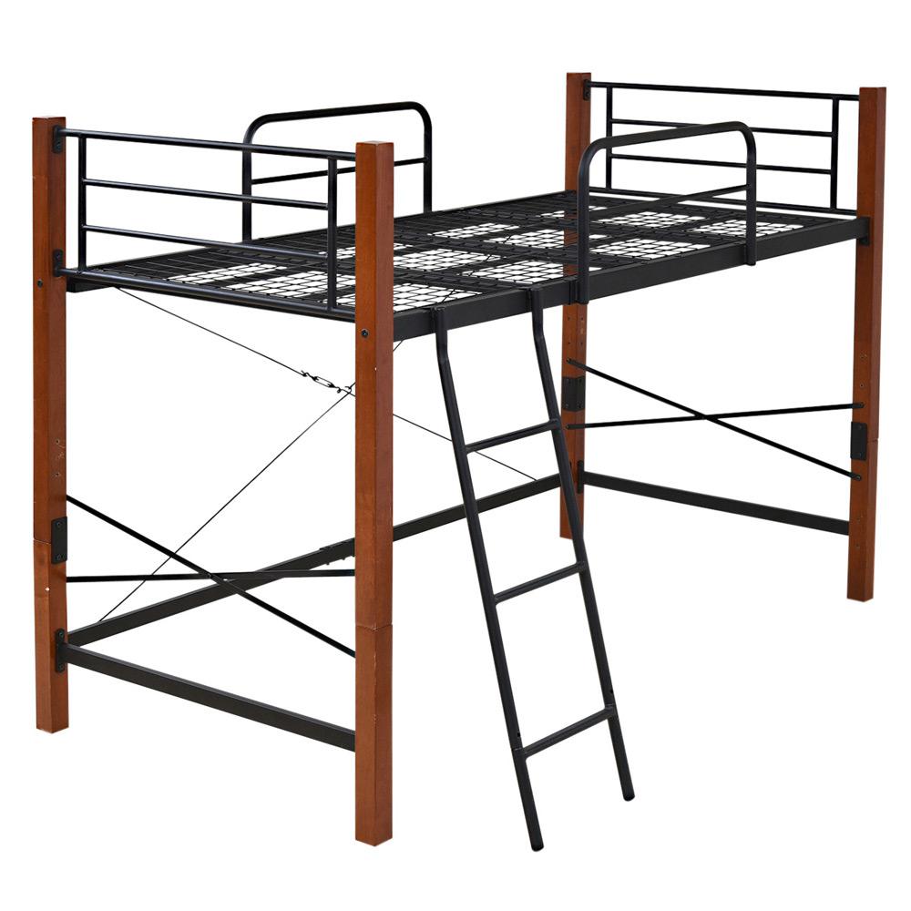 《ベッド下の空間を自由に使える》JKプラン 天然木脚ハイハイトシングルベッド高さ140cmIRI-1042SET-BKBRブラック