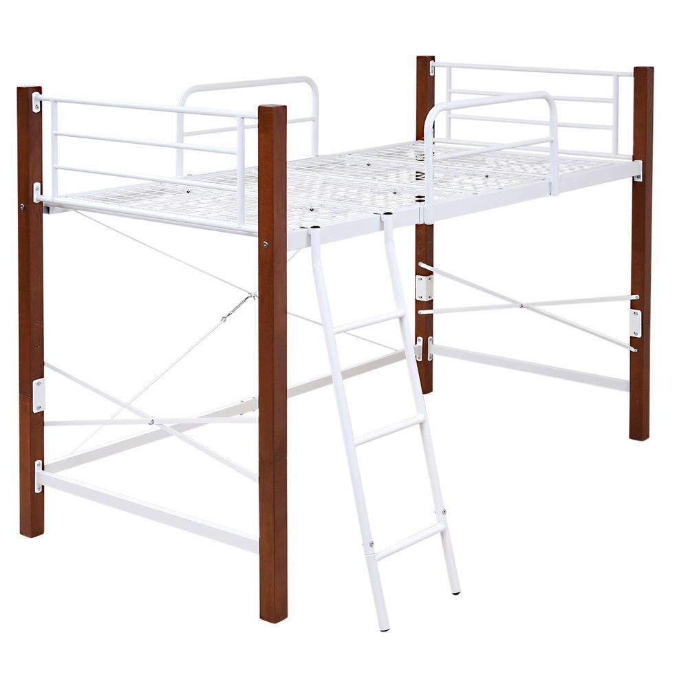 《ベッド下の空間を自由に使える》JKプラン 天然木脚ハイハイトシングルベッド高さ140cmIRI-1042SET-WHBRホワイト