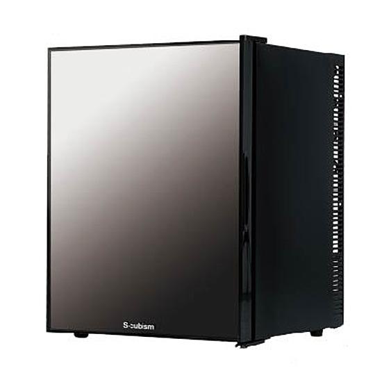 《コンパクトながら2Lペットボトルも余裕で入る40Lの冷蔵室》エスキュービズム 40L1ドアミラーガラス冷蔵庫WRH-M140G
