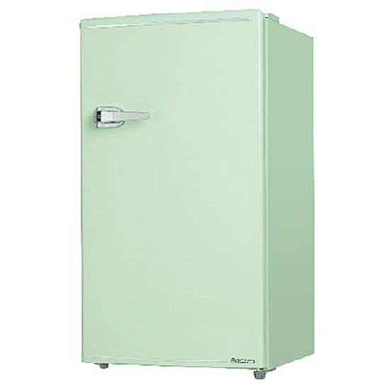 《コンパクトボディに製氷室付きの85L冷蔵室を搭載》エスキュービズム 85L1ドアレトロ冷蔵庫WRD-1085Gライトグリーン