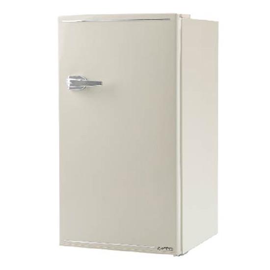 《コンパクトボディに製氷室付きの85L冷蔵室を搭載》エスキュービズム 85L1ドアレトロ冷蔵庫WRD-1085Wレトロホワイト