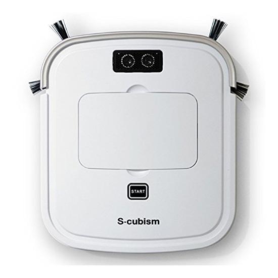 《家具下重点モード搭載、段差も安心。落下防止センサー搭載》エスキュービズム 床用薄型ロボット掃除機SCC-R05PWパールホワイト/シャンパンゴールド