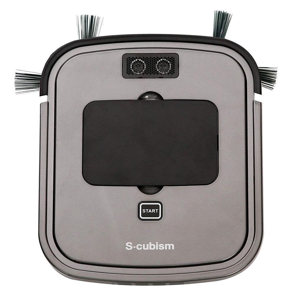 《家具下重点モード搭載、段差も安心。落下防止センサー搭載》エスキュービズム 床用薄型ロボット掃除機SCC-R05SMシルバーメタリック/ガンメタリック