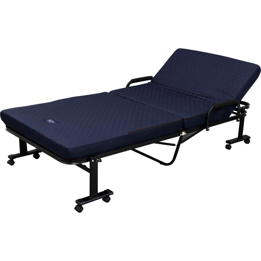 《山型サイドグリップ採用で、立ち上がりをサポート。高齢者にも使いやすい》アイリスオーヤマ エアリーマットレス付き14段階折りたたみリクライニングベッドOTB-ARH
