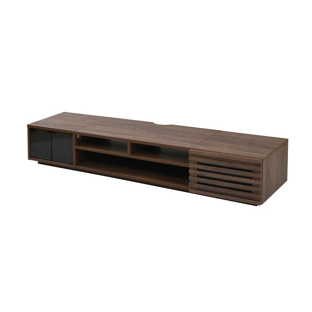 《50インチTV対応、配線隠し収納機能付》JKプラン ロータイプテレビボードW1800×H320×D420(ガラス扉+フラップ扉)FTV-LOWSET-GFBR