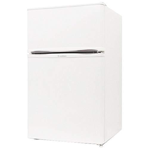 《ワンルームや寝室、オフィスにちょうどいい26Lの冷凍室・64Lの冷蔵室》エスキュービズム 90L2ドア冷凍冷蔵庫R-90WHホワイト