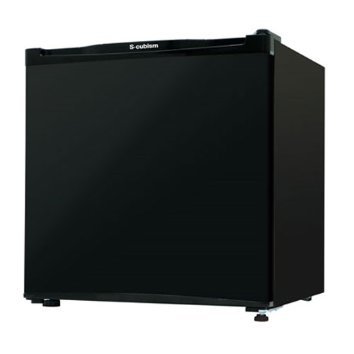 《氷を作れる製氷室付き。ワンルームや寝室に最適》エスキュービズム 46L1ドア冷蔵庫RM-46L01BKブラック