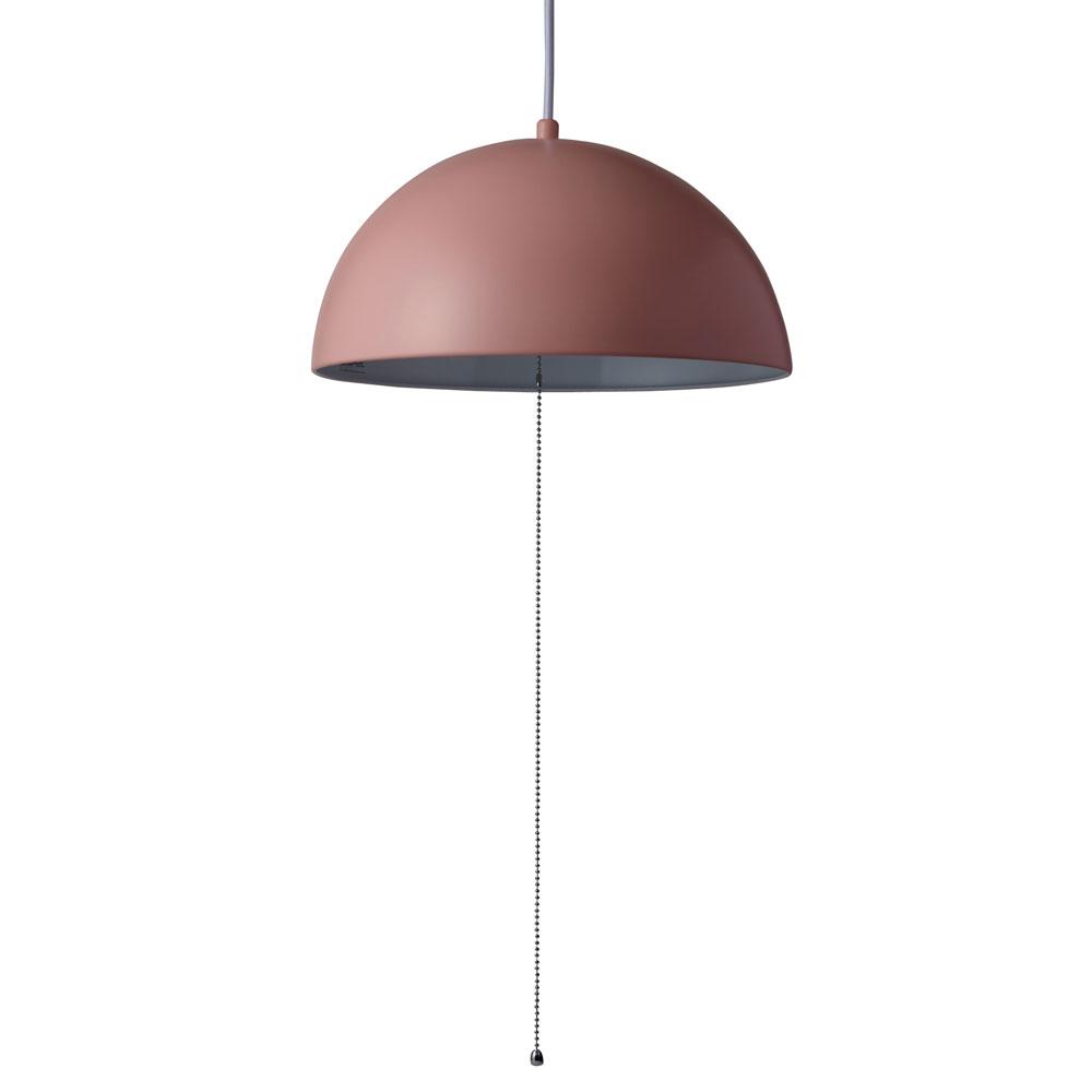 《シンプル&モダンなスチールシェード美しい》イシグロ ペンダントライト(LED球付き) ドーム20921ピンク