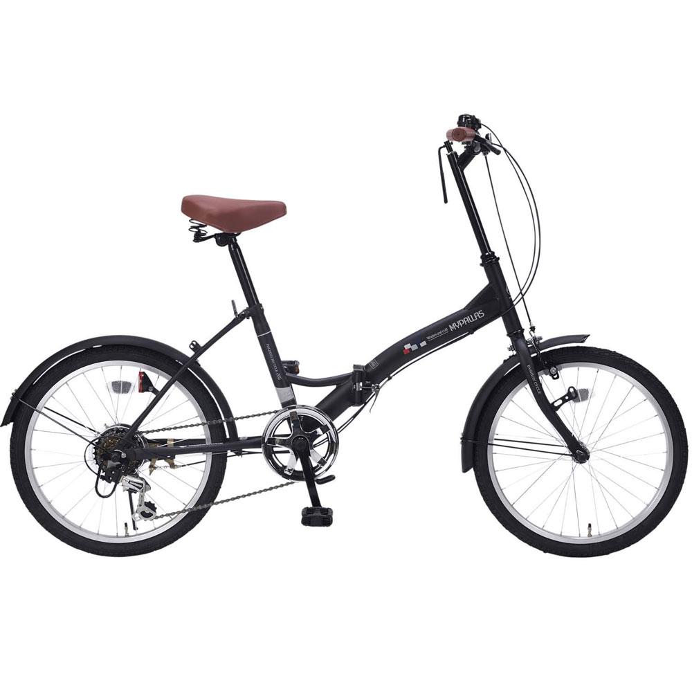 《6段ギア付で快適走行、街乗りに映える4色カラー》My Pallas 20インチ 6段変速折りたたみ自転車M-205-BKマットブラック